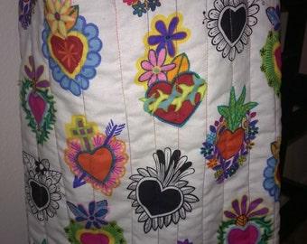 Market bag featuring Alexander Henry Folklorico Corazones Primavera fabric