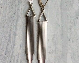 Silver New York Art Deco Earrings