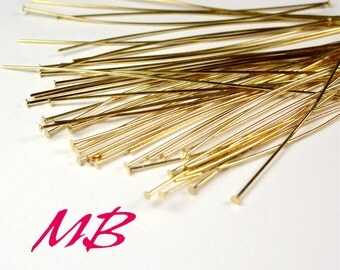 144 pcs Gold Plated Head Pins, 24 Gauge, 2 Inches