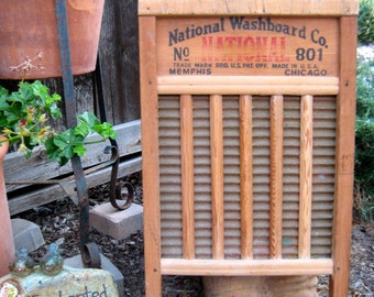 1940s Vintage # 801 - Top Notch BRASS KING - NATIONAL Washboard Co - Washboard No 801 - Wood & Brass - The Brass King - Memphis - Chicago