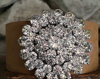 Amazing Sparkle!  Distressed Leather Cuff Bracelet with Antique Rhinestone Brooch