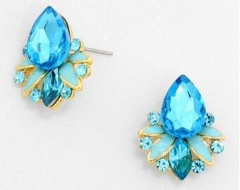 Aqua blue earrings, crystals earrings, Flower petals earrings, Gift for her, Christmas gift, handmade gift idea.