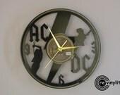 AC/DC clock, ac/dc, acdc, rock n roll, bon scott, ac/dc art, vinyl record clock, vinyl clock, wall clock, music art, mancave decor