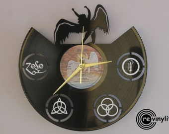 Led Zeppelin clock, vinyl record clock, Led Zeppelin, Jimmy Page, Robert Plant, vinyl wall clock, vinyl clock, mancave decor