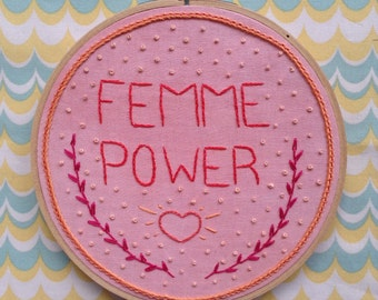 Femme Power - Embroidery Wall Hanging