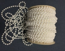 36 Yards of Vintage Faux Pearl Beads on Spool, White Pearl Garland. Shiny Pearls. 6mm