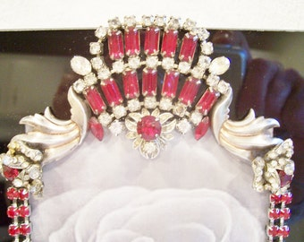 Black Glass Photo Frame Designed with Vintage Jewelry in Rich Ruby Red and Clear Rhinestones.