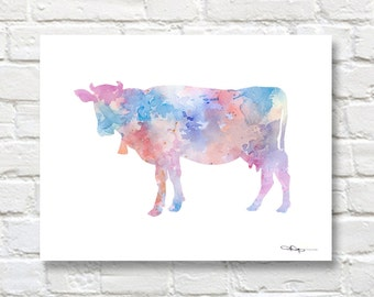 Cow Art Print - Abstract Watercolor Painting - Wall Decor