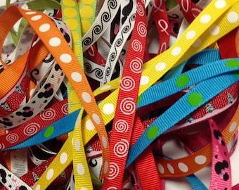 3/8 Inch, 20 yards, Grosgrain Ribbon, Grab Bag, Prints and Solids, ribbon grab bag, craft ribbon, lined hair clips, scrapbook ribbon