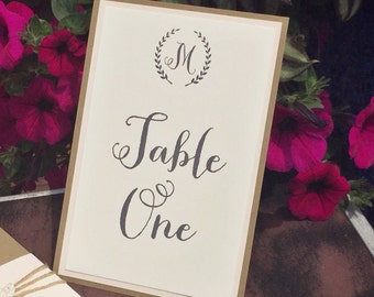 Rustic Chic Wedding Table Numbers with Monogram Letter
