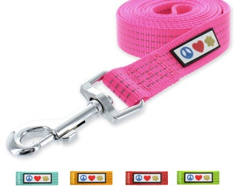 Pawtitas Reflective Dog Leash Medium/ Large  6 Ft Long 1 Inch  Pink