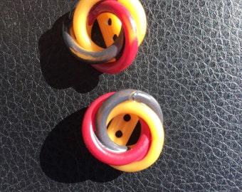 Medium  Vintage Celluloid Button Three Different Circles and Colors  7/8""