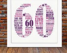 Personalized 60th Birthday Gift - 60th birthday, 60th birthday gifts, personalized birthday gift, sixty birthday