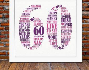 Wedding Gift Ideas For 60 Year Olds : ... Gift - 60th birthday, 60th birthday gifts, personalized birthday gift