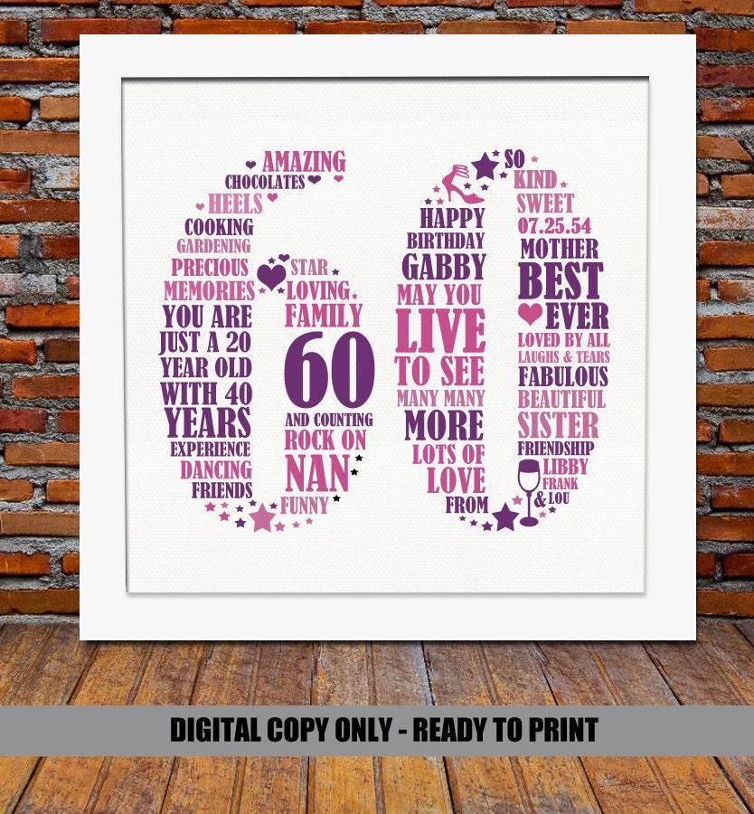 Personalized 60th Birthday Gift 60th Birthday 60th Birthday