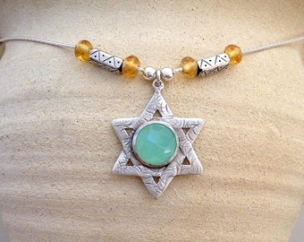 Sterling silver Star necklace , handmade Magen David ,  Big Magen David pendant, Judaica jewelry , Silver Star of David