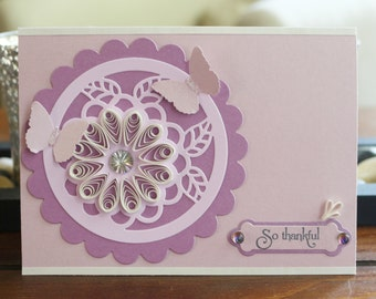 Handmade Quilled Flower Thank You Card