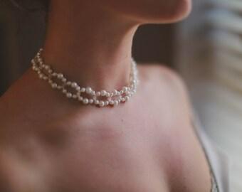 White Pearl & Swarovski bridal necklace