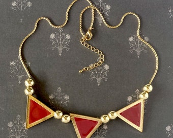 3 Gold in Red Triangle Statement Necklace 20 inches with 2.5 inches extension. Bib Jewelry