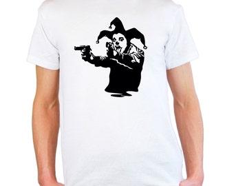 Mens & Womens T-Shirt with Banksy Street Art Graffiti Design / Joker Clown with Pistols Shirts / Jester Tee Shirt + Free Random Decal Gift