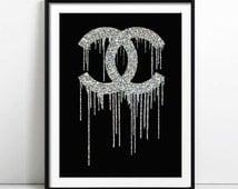 Coco Chanel Art, Chanel Print, Fashion illustration, Woman Graduation gift, Poster, Birthday, Gift for Her, Wall Art, Monogram, Home Decor
