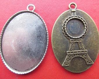 Effiel Tower Pendant Tray, Bezel Setting, 30x40mm Cabochon Tray - Antique Bronze,Antique Silver