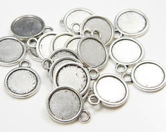 12mm Round Pendant Tray, Bezel Setting, 12mm  Cabochon Tray - Antique Bronze,Antique Silver,Double Same Side