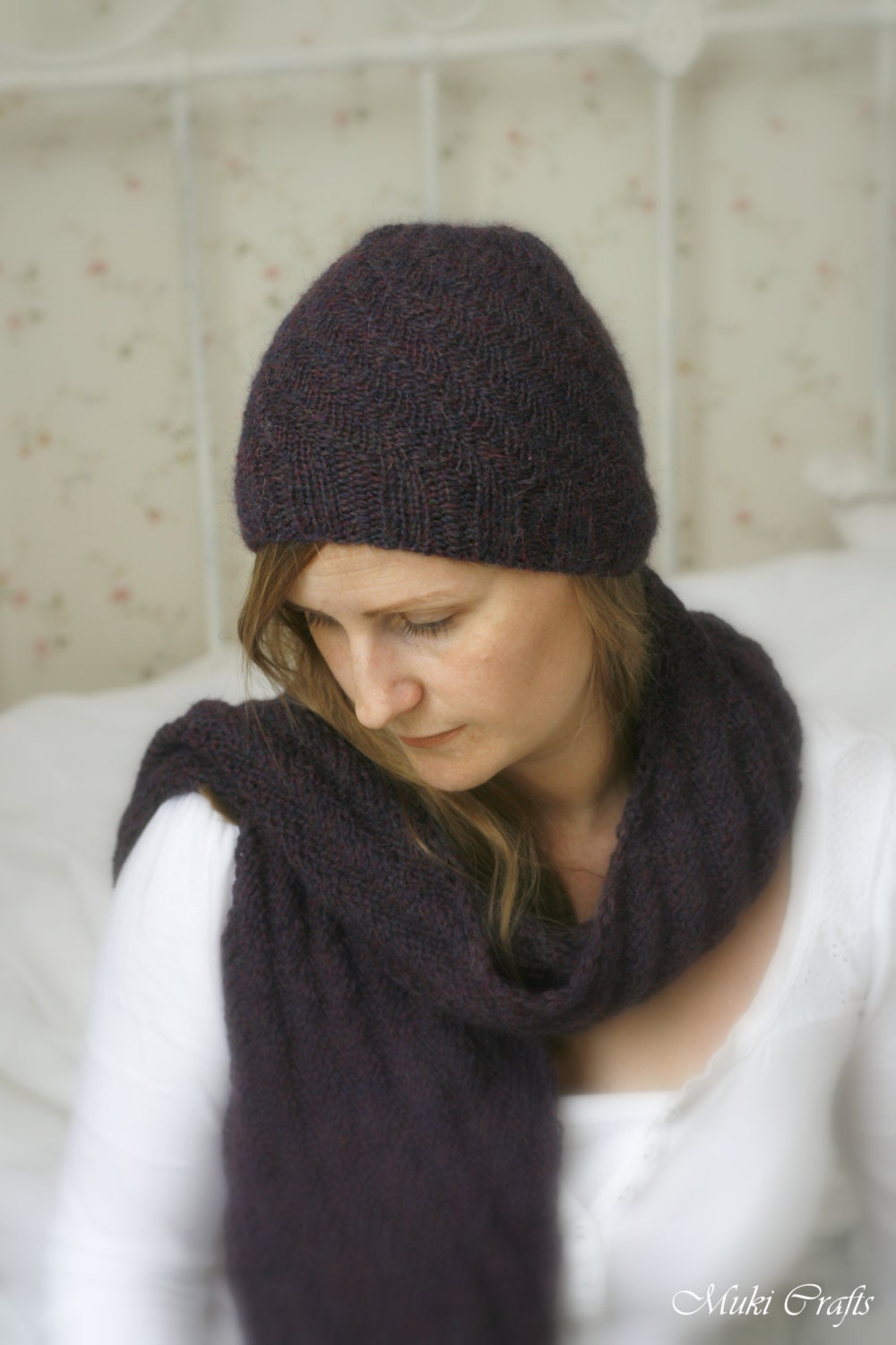 Knitting Pattern For Scarf And Beanie : KNITTING PATTERN beanie hat Ashton and scarf child by MukiCrafts