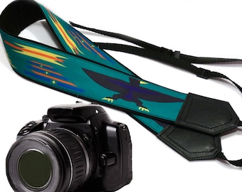 Camera strap inspired by Native American. Eagle Ethnic Camera strap. Turquoise DSLR / SLR Camera Strap. Camera accessory by InTePro