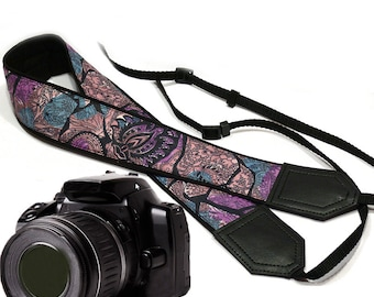 Camera Strap with ornaments. Blue, black, purple  and teal Camera Strap. Camera accessories. Unique gift by InTePro