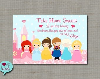 Princess Party Favor Tag, Favors, Label Card - PRINTABLE DIGITAL FILE - sheet of (2) 4x6