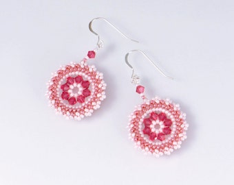 Swarovski crystal pink earrings, pink spring earrings, circle earrings, pink statement earrings, indian pink earrings, circular, 211-1