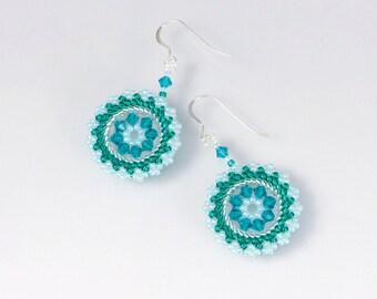 Swarovski crystal earrings Green spring earrings circle, statement earrings blue green, circular earrings, mothers day, gift for her, 211-1
