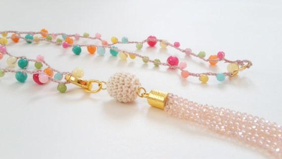 Boho Chic Pink Colourful Crochet Bead Tassel Necklace, Wrap Bracelet, Chain Tassel, Multi-use Set