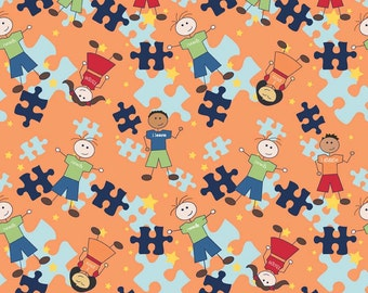 Riley Blake Pieces of Hope 2 Autism Awareness Fabric on Orange Main 1 Yard or 1/2 Yard