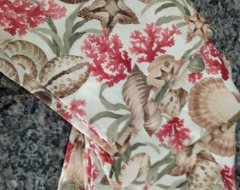 Four Sateen Cloth Napkins with Seashell Print
