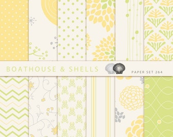 "FLORAL YELLOW & Green, 12 Digital Papers, Digital Scrapbook Paper Pack (12"" x 12"", 300 dpi, jpg) -- Instant Download -- Printable -- 264"