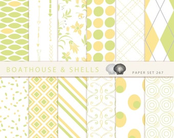 SUMMER YELLOW & GREEN Digital Scrapbooking Paper, 12 digital geometric and floral paper in yellow, green and white, download, printable, 267