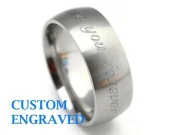 8mm Engraved Stainless Steel Ring - 8mm Wide Personalized Steel Ring -Stainless Steel Men Women Ring - Custom Engraved Brushed Steel Ring