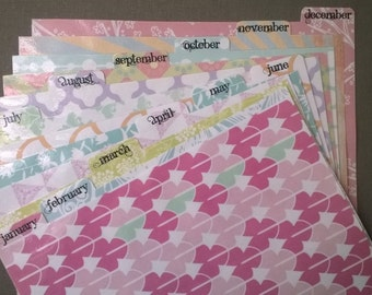 12 months pastel patterns: Set of dividers for Filofax/personal organisers