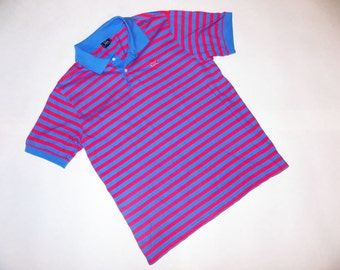 VINTAGE 1990s Striped, Coral And Periwinkle LE TIGRE Collared Shirt - Short Sleeved Polo Style Shirt - Vintage Le Tigre Striped Polo Shirt