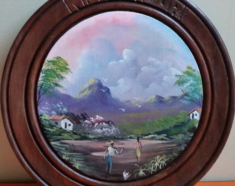 Round Folk Art Hand Painted Picture of Nigaragua