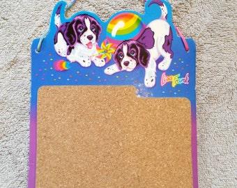 Rare Vintage Lisa Frank Bulletin Cork Board Velvet and Violet Puppy Dogs