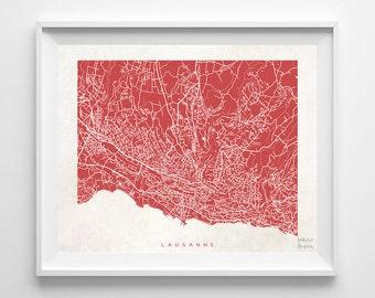 Lausanne Map, Switzerland Print, Lausanne Poster, Swedish Art, Art Print Shop, Art Print, Giclee Art Poster, Room Decor, Back To School