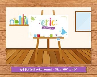 Personalized Art Party dessert table backdrop (digital file)