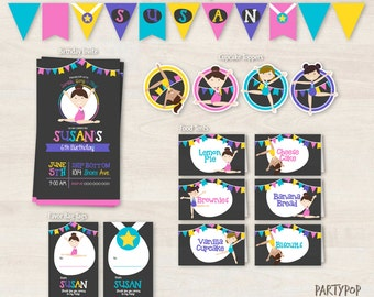 Printable Gymnastic Party kit  (includes Invitation,cupcake toppers,favor tags,bunting + personalized food labels)
