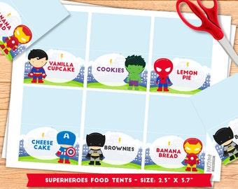 Personalized Super Hero food label tent (digital file)