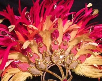 Beautiful Custom Fire Headpiece-Fanned Feathers