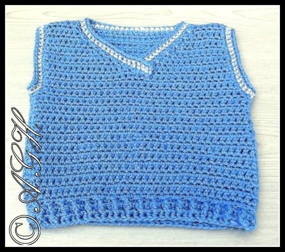PDF Crochet Pattern for Baby/Toddler V-Neck Vest by ...