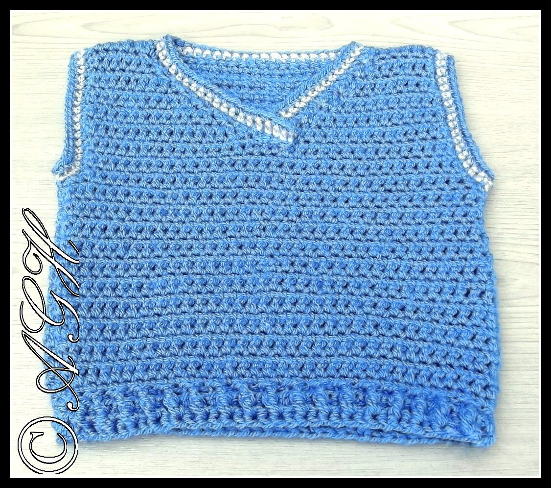 Crochet Baby Waistcoat Pattern : PDF Crochet Pattern for Baby/Toddler V-Neck Vest by ...